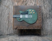 New item!! Hand Stitch Men Wallet Gibson les paul vintage green color