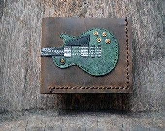 New item!! Hand Stitch Men Wallet Gibson les paul vintage green color