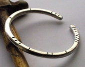 Extra-Thick and Rustic Hammered Silver Bangle Bracelet for Women