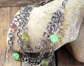 Boho Multi Strand Necklace - Leather - Black Chain - Frosted Glass