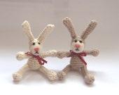 Crochet  bunny rabbit with felted face beige ivory children toy Amigurumi woodland nursery decoration gift fun fantasy animal safari nursery