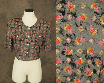 CLEARANCE vintage 80s Blouse - 1980s Tie Dye Floral Crop Top Sz M L