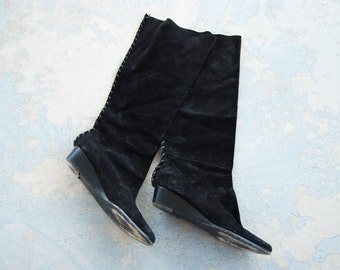 CLEARANCE Sale vintage 1980s Leather boots - 80s Black Suede Slouch Boots  Sz 8 39