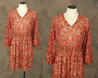CLEARANCE Sale vintage 70s Dress - Semi Sheer Floral Dress - 1970s Boho Red Day Dress Sz S M