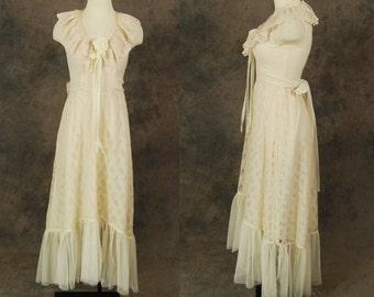vintage 70s Wedding Dress - Ivory Lace Maxi Dress 1970s Boho Wedding Gown Sz S