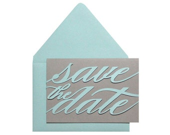 Monogram Save the Date Cards - blue, tiffany, script, cutout, laser