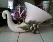 USA Pottery Cornucopia Vase With Grape Legs
