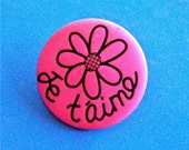 """French Words Je t'aime  """"I Love You"""" Large Magenta Pink Button with Flower 1 1/4 """" Not Used"""