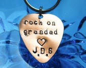 rock on grandad with initials, hand stamped guitar pick key chain