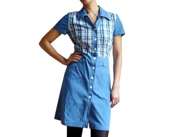 Blue Gingham Shirt Dress
