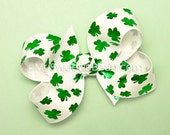 Shamrock Bow for Toddlers, Metallic Clover, 3 Inch Boutique Bow, Irish Festival, Team Pride, Children Holiday, Emerald Green, Baby Toddler