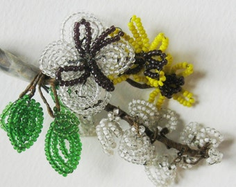 Vintage 40s Beaded Hat Decoration Millinery Flowers Glass Beads on Wire