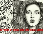 """Portrait Drawing Art Print: """"It's Go Go Not Cry Cry"""" - Rose McGowan Cherry Darling Grindhouse Planet Terror"""