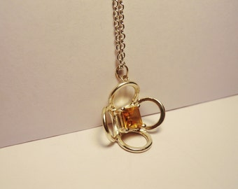 Silver Citrine Flower pendant - sterling silver with square cut citrine