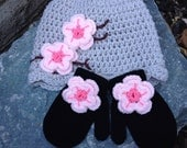 Toddler to Child size Hat and mittens set cherry blossom style in linen with black mittens