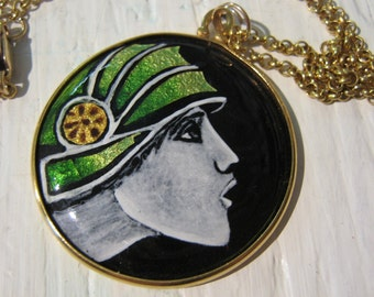 Grisaille Enamelled Art Deco Athene