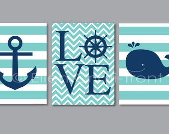 Kids Wall Art- turquoise and navy nautical print set