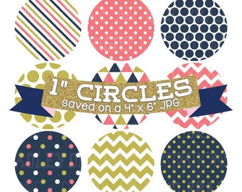 Digital Bottlecap Images Coral Navy Blue and Gold Instant Download Bottle Cap Graphics Digital Collage Sheet One Inch Circles 4x6 JPG