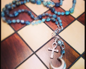 Knotted Goddess Necklace with Kyanite and Moonstone
