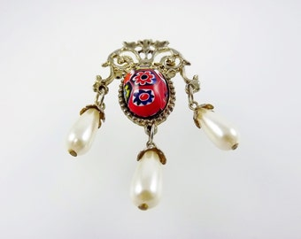 Venetian Glass, Murano Glass, Red Millefiore Brooch, Millefiore Jewelry, Pearl Costume Jewelry
