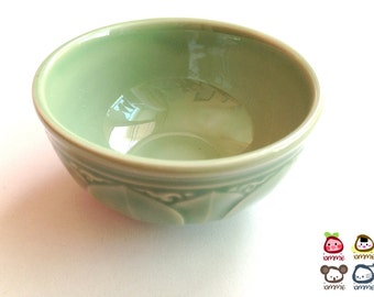 Ceramic Bowl, green, flower, flower bowl, rice bowl, soup bowl, sauce, round, mini, small, decoration, bowl, bali, thai, luxury, lotus