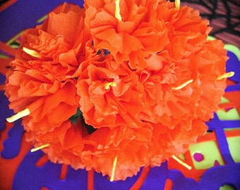 Sm Day of the Dead MARIGOLD PAPER Bunch of 10 -  Vibrant and Necessary for your Altar