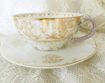 Vintage Flora Teacup,  Bavarian Tea Cup, Gold Trim Tea Cup, Collectible Teacup, Vintage Teacup,  no42