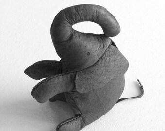 Elephant finger puppet gray leather toy stuffed animal