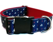 Nautical Anchors Wide Dog Collar, Martingale or Leash