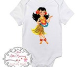 Vintage Styled Hula Girl Personalized Onesie or T Shirt - Beach T Shirt - Retro T Shirt