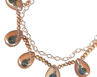 layered statement necklace goldstone teardrop copper chain spiral