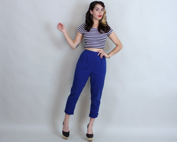 60s True Blue JANTZEN CAPRIS Vintage 1960s Back by TrioVintage
