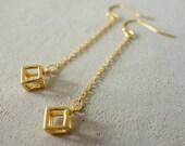 Long Cube Earrings, minimalist jewelry, geometric jewelry, chain earrings
