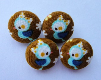 Cute Birds Japanese Fabric Covered Buttons For Sewing - Set of 4 - Size 15mm