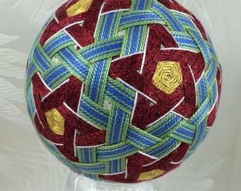 Woven Stars and Stripes temari by Barbara B. Suess
