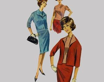 1960s Skirt jacket overblouse Pattern Butterick 2178 Back button blouse Winged collar Back kick pleat Unlined jacket Bust 34 Size 14