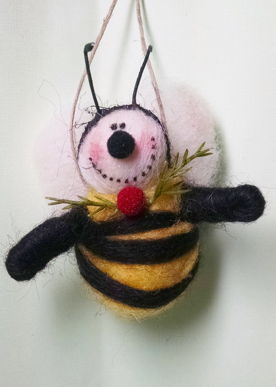 Bumblebee Wool Wrapped/Needle Felted Ornament