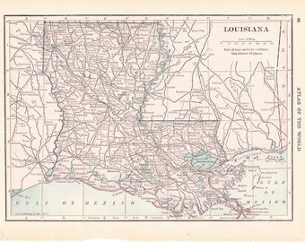1913 State Map Louisiana - Vintage Antique Map Great for Framing 100 Years Old