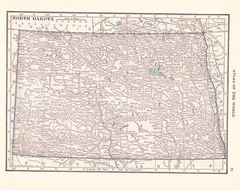 1913 State Map North Dakota - Vintage Antique Map Great for Framing 100 Years Old