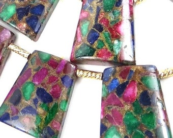 Ruby Sapphire Emerald in Quartz with Pyrite Ladder Trapezoid Pendant Beads 30mm (e6399)