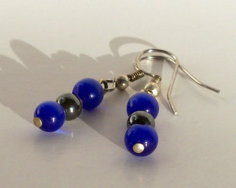 Sapphire Blue and Hematite Earrings
