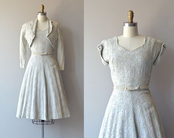 Softer Still dress | vintage 1950s dress • cotton embroidered 50s dress