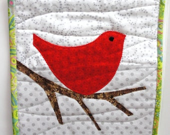 red bird mini wall quilt- red bird on bare branch against white and gray for Christmas and winter READY TO S HIP
