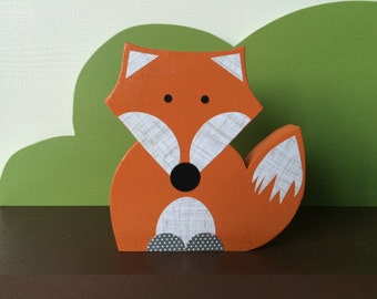 Fox Wooden Art, Fox Decor, Forest Themed Nursery, Fox Kids Decor, eco friendly