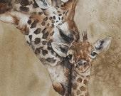 ORIGINAL painting watercolor painting original Watercolor painting watercolor animal painting Giraffe painting art 11x14 CUSTOM COMMISSION