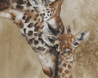 ORIGINAL painting watercolor painting original Watercolor painting watercolor animal painting Giraffe painting art 11x14 CUSTOM COMMISSION