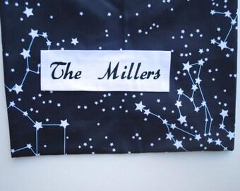 Personalized Picnic Blanket- ORGANIC Picnic Blanket, Beach Blanket, Galaxy Stars- Wedding Gift