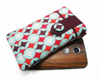 Fabric iPhone 6, 6s, 6 plus Pouch, Cell phone case for Moto x, Galaxy 6, 6 edge, HTC One m9, LG 4g, Nexus 6 -  Diamonds, Red, White and Teal