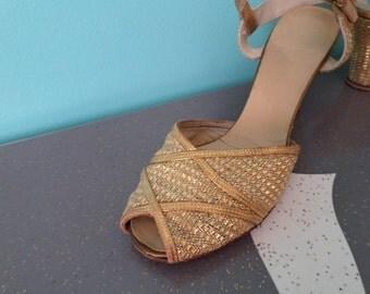 Astaire Pumps - 1940's Gold Ballroom Heels