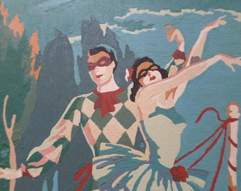 Harlequin Romance - 1950's Harlequin Ballerina Paint By Number Painting